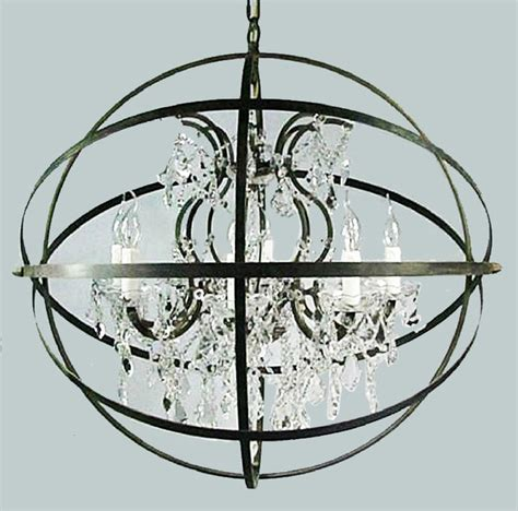 Loft Country Crystal And Iron Orb Chandelier Iron Orb Chandelier