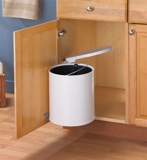 kitchen trash cabinet swing out white trash can in cabinet trash cans
