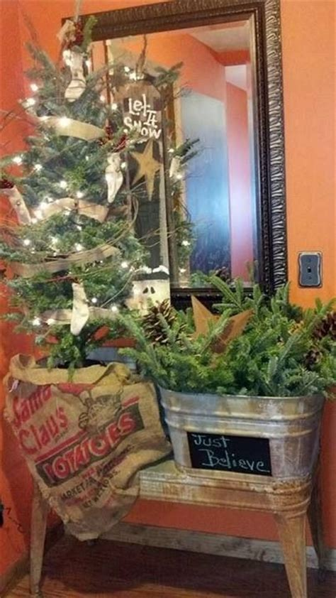 pictures of christmas trees in a wash tub wash tub prim tree what a neat idea i just happen to a wash tubs