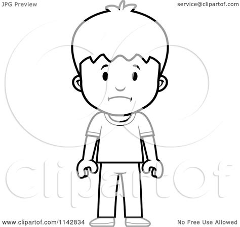 sad person coloring page cartoon clipart of a black and white school boy with a sad