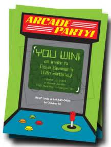 arcade invitation arcade or video game party video game