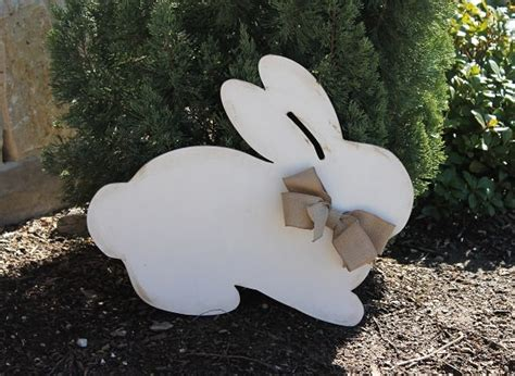 wood distressed easter bunny door hanger yard decor