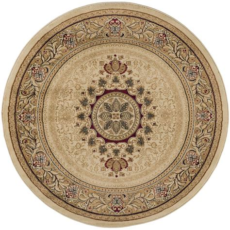 round accent rugs tayse rugs sensation beige 5 ft 3 in traditional round