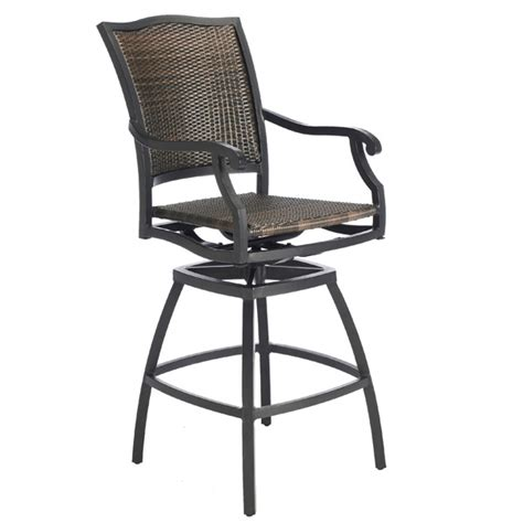 Outdoor Wicker Bar Stool The Plaza Woven Wicker Outdoor Bar Stool Summer Classics Family Leisure
