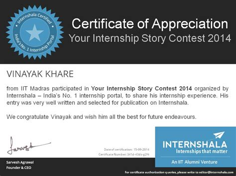 certificate  appreciation internshala blog