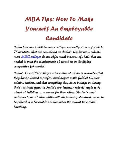 Is It Okay To Use Mba Candiate mba tips how to make yourself an employable candidate