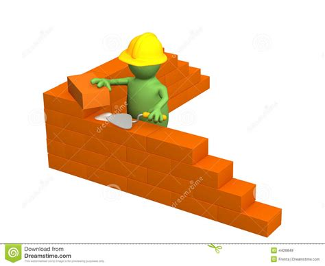 3d puppet builder building a brick wall royalty free