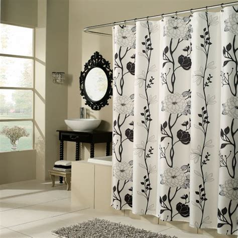 black and white flower shower curtain cassandra black and white floral fabric shower curtain by