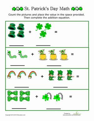 kindergarten activities st patrick s day st patrick s day picture addition worksheet education com