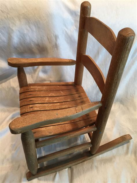 Vintage kid s toddler wooden rocking chair natural wood color and ware ebay