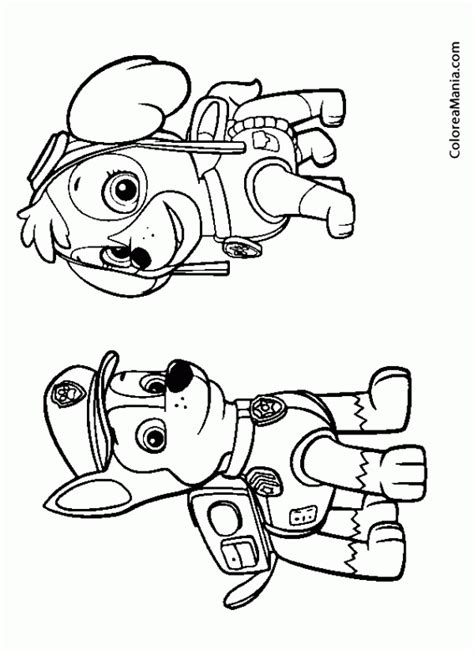 dibujos para pintar patrulla canina colorear skye y chase patrulla canina dibujo para