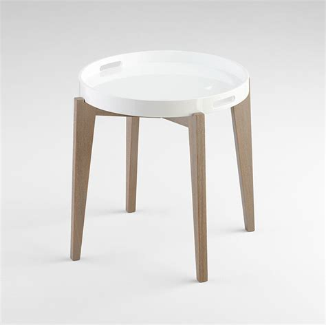 white lacquered wood side table by cyan design