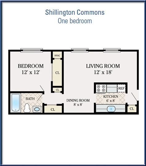 500 sq ft apartment floor plan one bedroom at shillington commons apartments 500