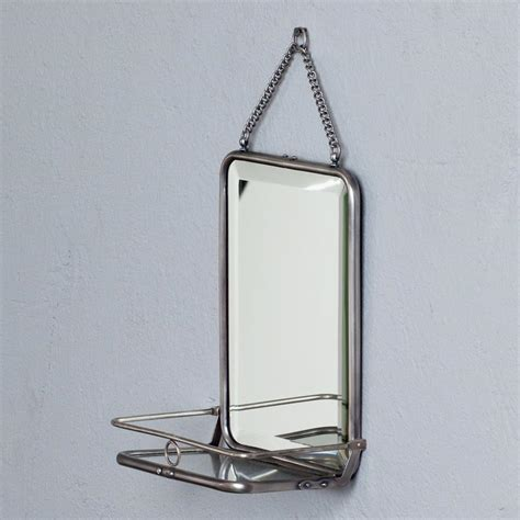 bathroom mirror with vintage shelf ideas