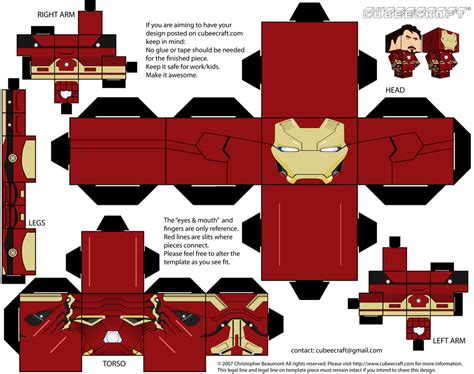 Ironman Papercraft - tony stark iron cubeecraft civil war by jagamen on