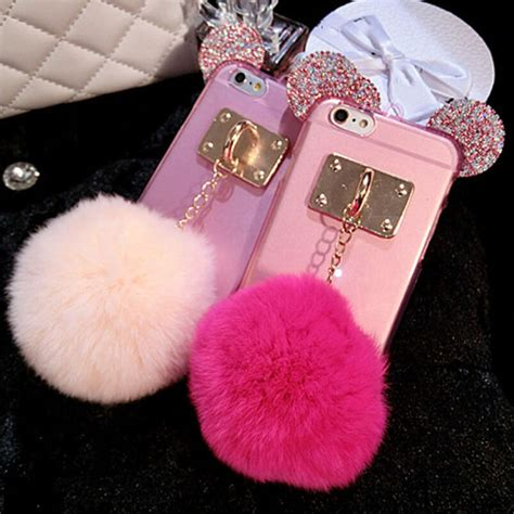 Luxury Mickey Mouse Handphone Iphone 5 5s Se fashion mickey minnie rabbit fur phone cover skin for