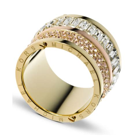 Michael Kors Ring by Michael Kors Gold Tone Pave And Barrel Ring In Gold