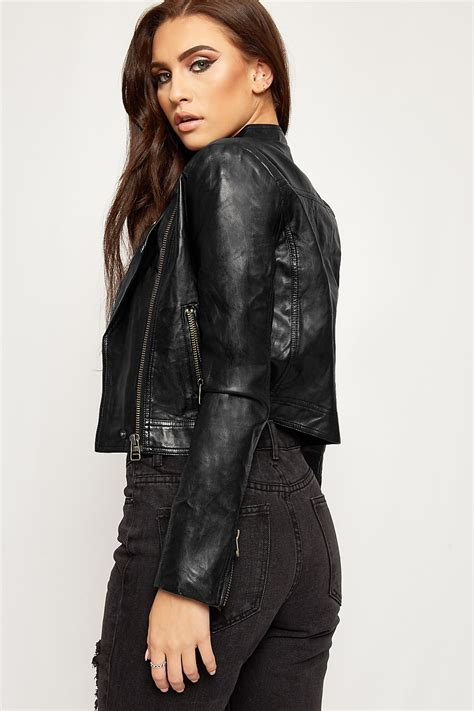 Susan Biker Leather Jacket faux leather cropped biker jacket wearall