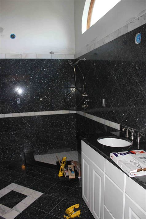 librarian tells all i live here black white and blue bathroom granite bathtub wall frame at modern with wooden