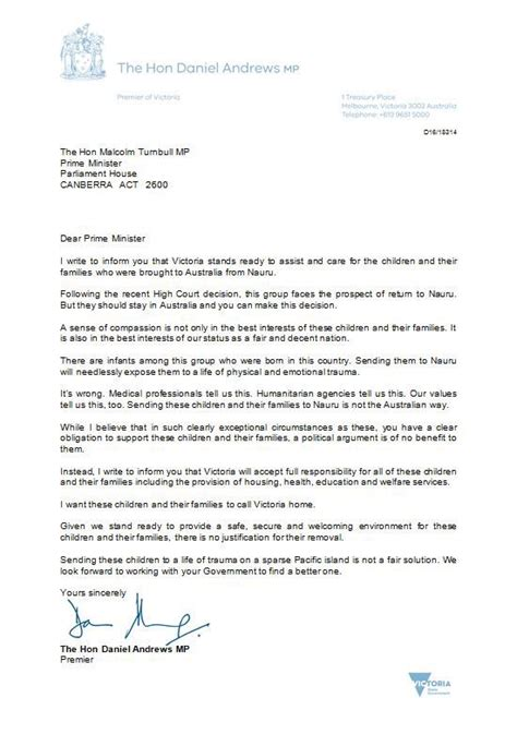 Asylum Support Letter Sle Will Take The 267 Asylum Seekers Daniel Tells Malcolm Turnbull Australia