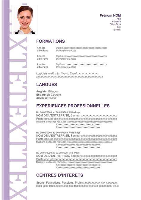 Modèle De Cv En Ligne Gratuit by Resume Format Forme De Cv Classique