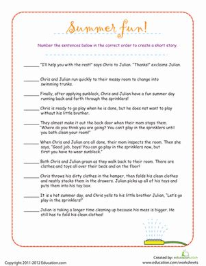 put the story sequence in order worksheet education