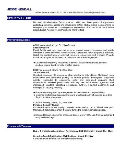 Security Resume Objective by Professional Security Guard Resume Recentresumes