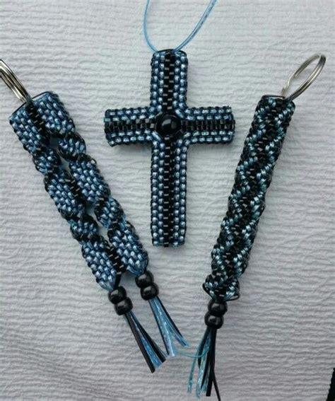 boondoggle cross  key chains blue black boondoggle scoubidou rexlace keychains