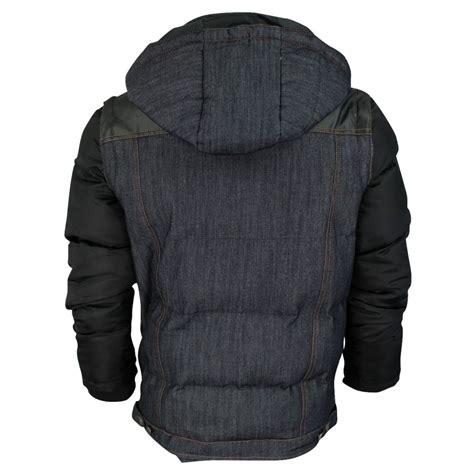 Mens Quilted Hoodie by Mens Crosshatch Denim Hoodie Jacket Padded Quilted Demco