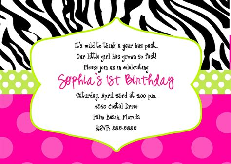 Animal Print Birthday Card Template by 40th Birthday Ideas Free Zebra Print Birthday Invitation