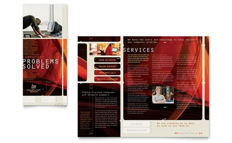 computer brochure templates computer repair brochure template word publisher