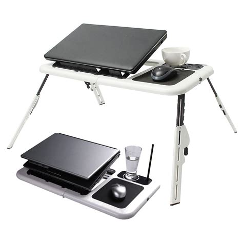 Laptop Desk With Mouse Pad 2 Usb Cooling Fans Laptop Desk Table Folding Laptop Stand Desk Holder With Powerful Mouse Pad