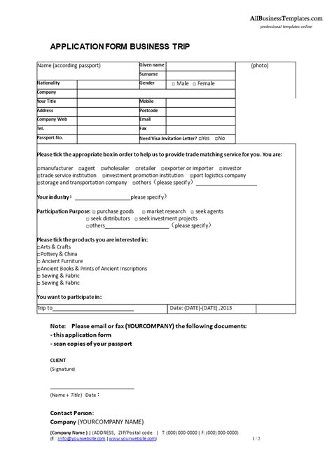 business form templates free business trip application form templates at