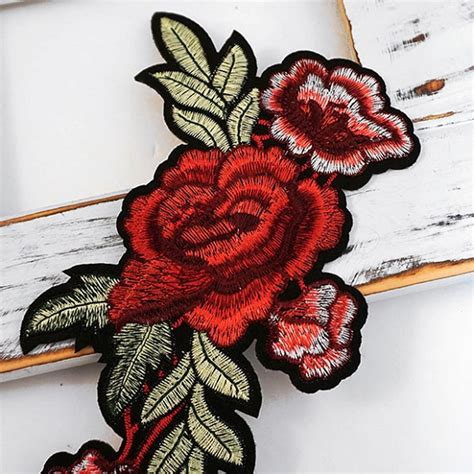 Floral Iron On mirror pair embroidered floral iron on applique patch