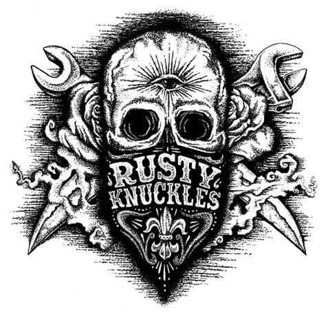 outlaw skull illustration for the clothing brand rusty