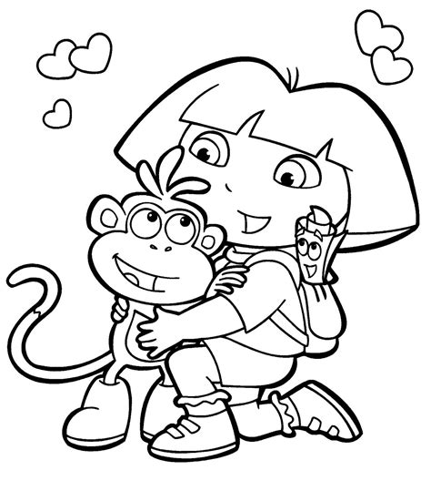 dora cartoon coloring pages coloring book pages free nickjr s dora the explorer