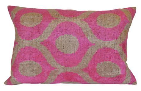 uzbek silk ikat lumbar pillow one kings lane andrea ikat 16x24 pillow pink orientalist home brands