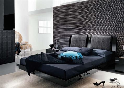 modern bed design black interior bedroom design ideas mosaic wallpaper