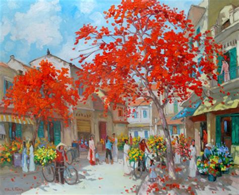 lam manh modern asian art flower market  spring