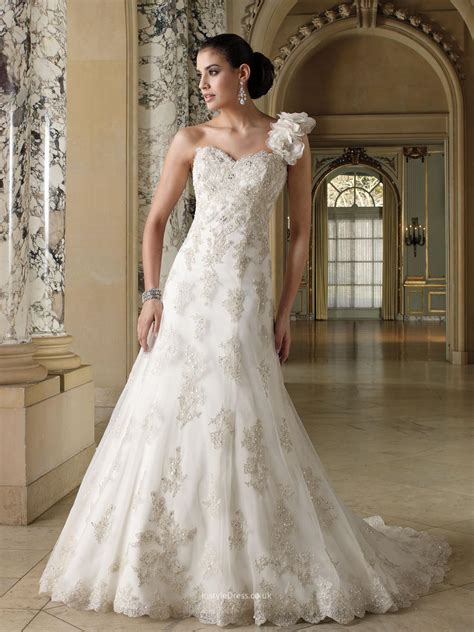 one shoulder tulle a line wedding dress uk with sweetheart