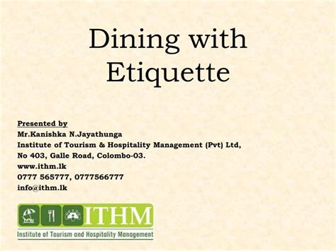 Dining Table Etiquette Ppt Ppt Dining With Etiquette Powerpoint Presentation Id