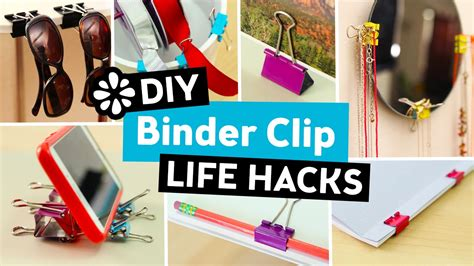diy hacks youtube 10 easy diy binder clip life hacks sea lemon youtube
