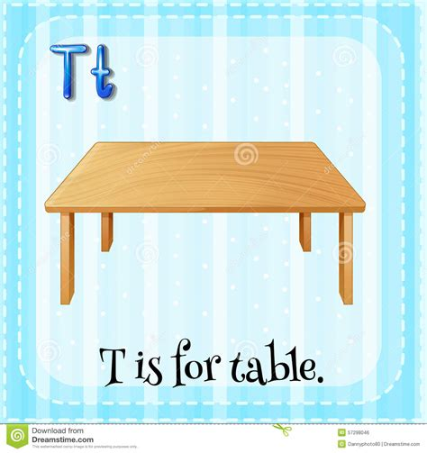 T Is For Table letter t stock vector image of flashcard letter