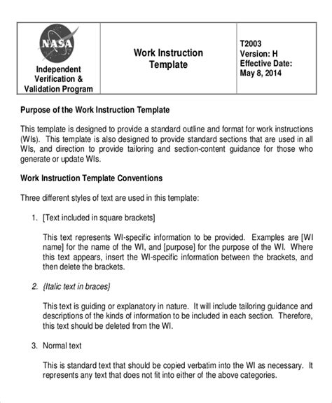 work manual template working template 6 free word pdf document