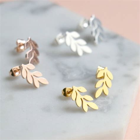 Stud Earring delicate leaf stud earrings by nell