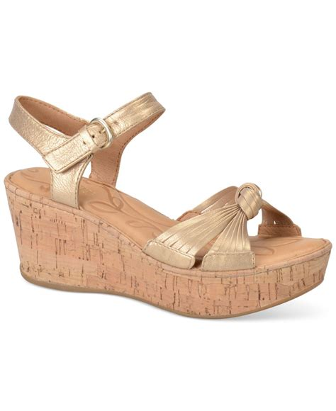 born platform wedge sandals in metallic lyst