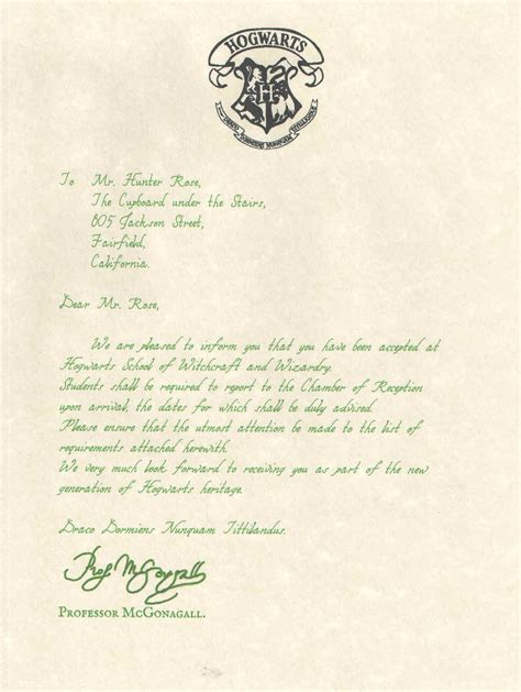 harry potter acceptance letter template hogwarts acceptance letter version personalized