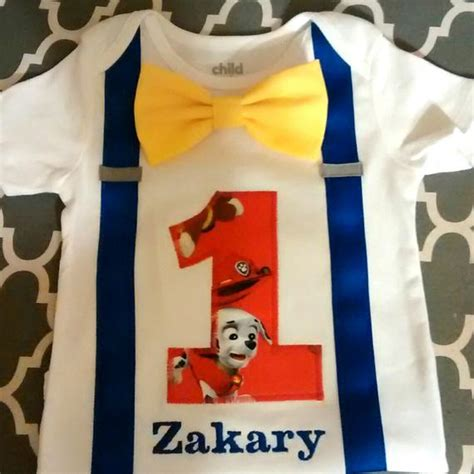 Detachable Ribbon Shirt boy paw patrol birthday shirt or onesie detachable yellow
