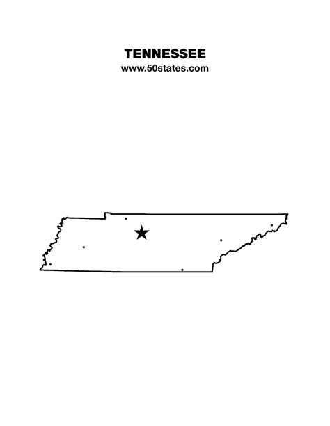 State Of Tennessee Outline by Tennessee Map