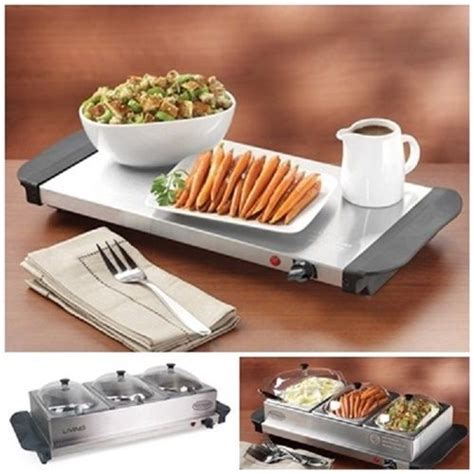 3 Section Warming Tray by Details About Station Cooker Electric 3 Food Buffet